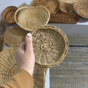 Vintage Small Wicker Woven Baskets Lot of 3
